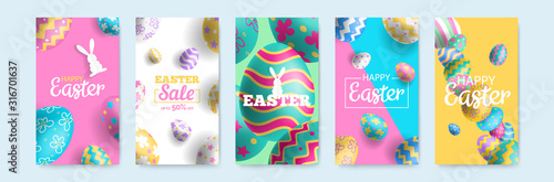 happy easter vertical banners set for social media mobile app stories design Canvas Print