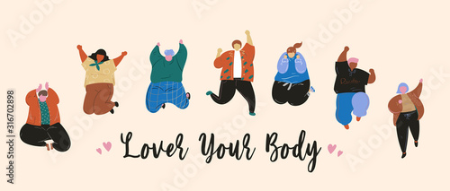 Canvastavla Love your body, Women and men body positive and people concept, Happy plus size, Friendship, Hand drawn vector illustration