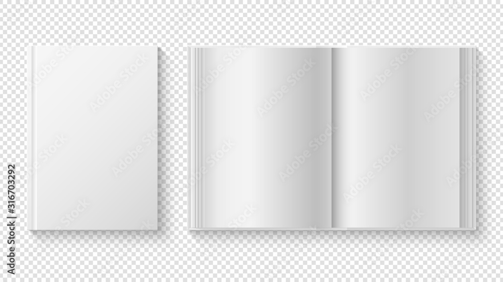 Fototapeta Closed and opened book. White cover template, library reading. Realistic white paper sheets diary or planner vector mockup. Cover textbook, brochure paperback book illustration