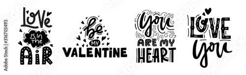 Saint Valentine Day Romantic text labels set.