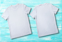 T-shirt Design Fashion Concept, Closeup Of Man And Boy In Blank White T-shirt, Shirt Front End Rear Isolated. Mock Up.