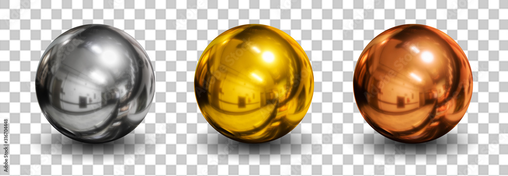 Fototapeta 3d spheres isolated on white background with shadow. Set of crystal shape or realistic glass ball in silver, bronze, gold metal. 3d render idea for mock up on website. New geometric design. Round icon