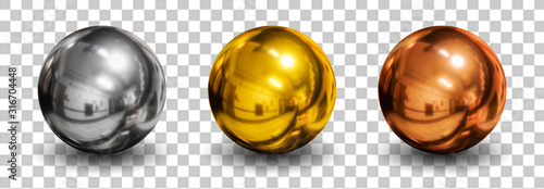 Cuadros en Lienzo 3d spheres isolated on white background with shadow