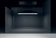 Photo Studio With Lighting Equipment And Black Background