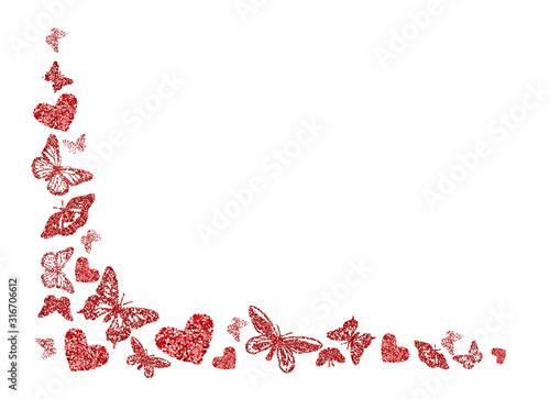 Obraz na plátně Red glitter butterfly, heart silhouettes kite texture in corner on white