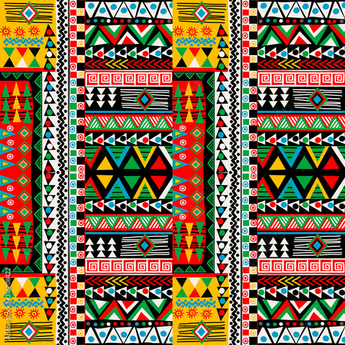 Colored patchwork design with african ethnic motifs Wallpaper Mural