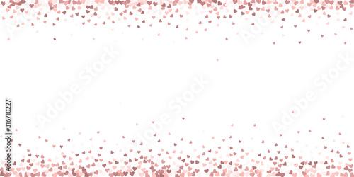 Photo Pink heart love confettis. Valentine's day border