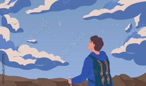 Fotografiet Man looking at night starry sky flat vector illustration