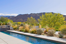 View Of Mountains From Patio Of Luxury Manor House With Small Pool