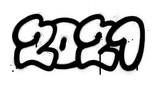 Fototapeta Młodzieżowe - graffiti 2021 date sprayed in black over white