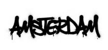 Graffiti Amsterdam Word Sprayed In Black Over White