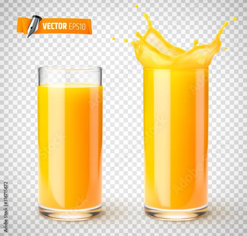 Verres de jus de fruit vectoriels sur fond transparent