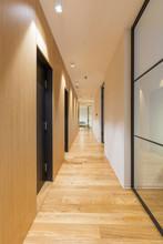 Interior Of A Long Hotel Corri...