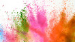 canvas print picture - Explosion of colored powder isolated on white