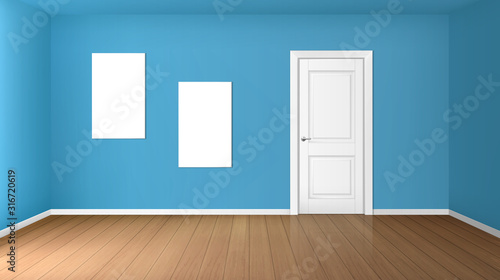Foto Empty room with white closed door, wooden floor, blue walls and blank posters