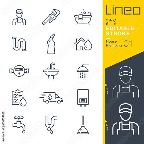 Fototapeta Lineo Editable Stroke - Plumbing line icons obraz na płótnie