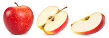 Red Apple Collection. Apple With Clipping Path Isolated On A White Background