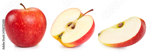 Obraz Red apple collection. Apple with Clipping Path isolated on a white background - fototapety do salonu