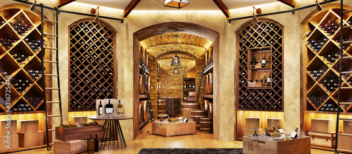 Stampa su Tela Wine cellar with bottles on wooden shelves