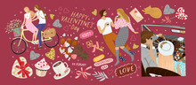 Happy Valentine's Day! Vector Illustration For The Holiday Of Love - February 14th. Drawings Of A Couple At Home, Newlyweds In A Retro Car And Lovers On A Bicycle