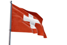Switzerland Flag Waving On Pole With White Isolated Background. National Theme, International Concept.