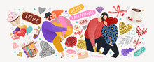Happy Valentine's Day! Vector Cute Illustrations Of A Couple In Love For Background, Card Or Poster. Abstract Trendy Modern Print And Objects For The Holiday.