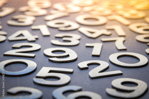 Obraz na plátně Mathematics abstract background made with solid numbers