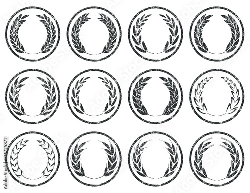 Vászonkép Collection of different grunge stamp silhouette circular laurel foliate, wheat, barley, rye and oat spike wreaths depicting an award, achievement, heraldry, nobility