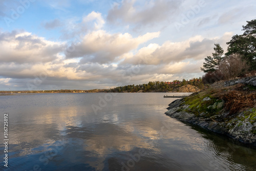 Photo Panoramic view of Baltic Sea bay in spring