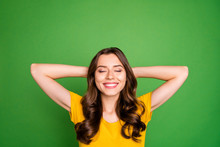 Close-up Portrait Of Her She Nice Attractive Lovely Cheerful Cheery Dreamy Wavy-haired Girl Having Relaxation Time Isolated Over Bright Vivid Shine Vibrant Green Color Background
