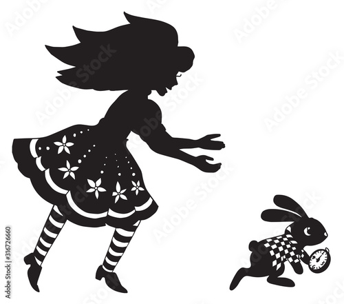 the silhouette of Alice and the rabbit Wallpaper Mural