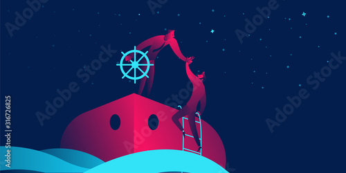 Fotomural  Onboarding business concept in red and blue neon gradients