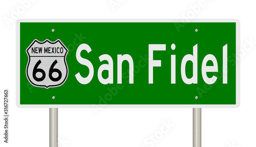 Rendering of a green 3d highway sign for San Fidel New Mexico Fototapet
