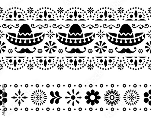Mexican seamless vector pattern with sombrero, mustache and flowers - textile, w Fototapet