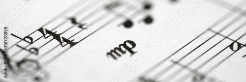 Obraz Musical notes printed on paper sheet - fototapety do salonu