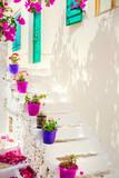 Fototapeta Na drzwi - Traditional white house with flowerpots