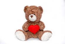 Teddy Bear With Heart On White Background
