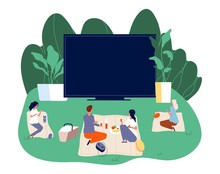 Open Air Cinema. Outdoors Movie Illustration. Teenagers With Snacks And Screening Film. Romantic Couple Date Vector Concept. Movie Cinema Outdoor, Entertainment Watching Illustration