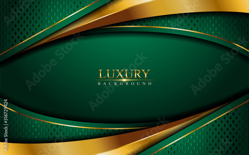Obrazy zielone  luxury-green-background-combine-with-glowing-golden-lines-overlap-layer-textured-backgrou