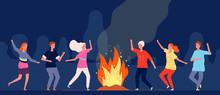Campfire Dance. People Happy C...