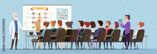 Obraz Professor lecturer. Doctor training group speech for students audience vector cartoon background. Professor lecturer, leadership on conference, briefing or seminar illustration - fototapety do salonu