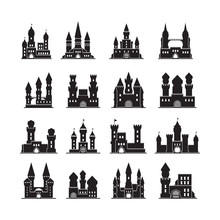 Castle Silhouettes. Medieval Fortress Ancient Towers Vector Flat Buildings Kingdom. Illustration Castle With Tower, Stronghold Silhouette