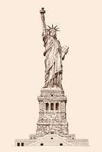 Liberty Enlightening The World. Statue In New York America. Pencil Sketch On A Beige Background.