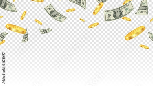 Fototapeta Flying money. Gold coins and banknotes in the air isolated on transparent background. Vector financial or bank or lottery win background. Illustration finance cash and currency coin, jackpot success obraz