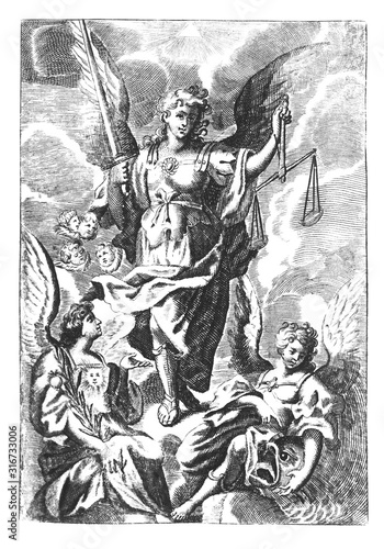 Antique vintage religious allegorical engraving or drawing of archangel Gabriel with scale and sword and other angels on clouds of heaven Canvas Print
