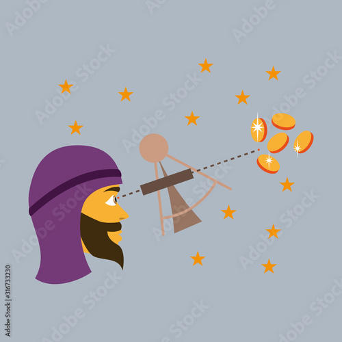 flat icon on theme Arabic business astronomer Wallpaper Mural