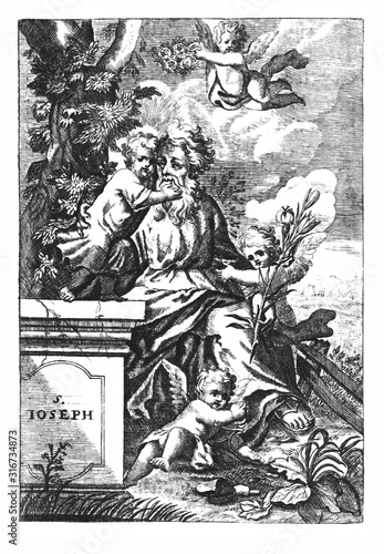 Cuadros en Lienzo Antique vintage religious allegorical engraving or drawing of Christian holy man saint Joseph, father of Jesus, with cherubs or angels