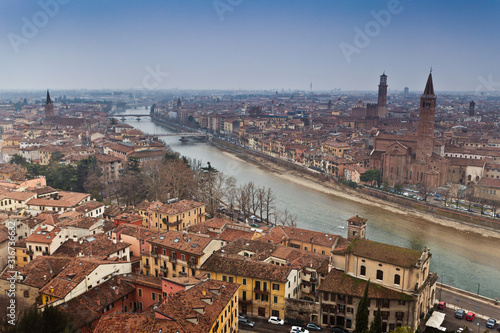Panorama of one of the most romantic cities in Italy and the world - Verona, vie Canvas Print