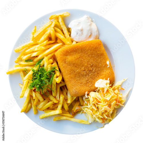 Fototapeta Top view of fried cheese with fries, tartar obraz