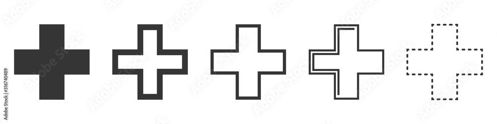 Fototapeta Set of Medical Cross vector icons isolated.